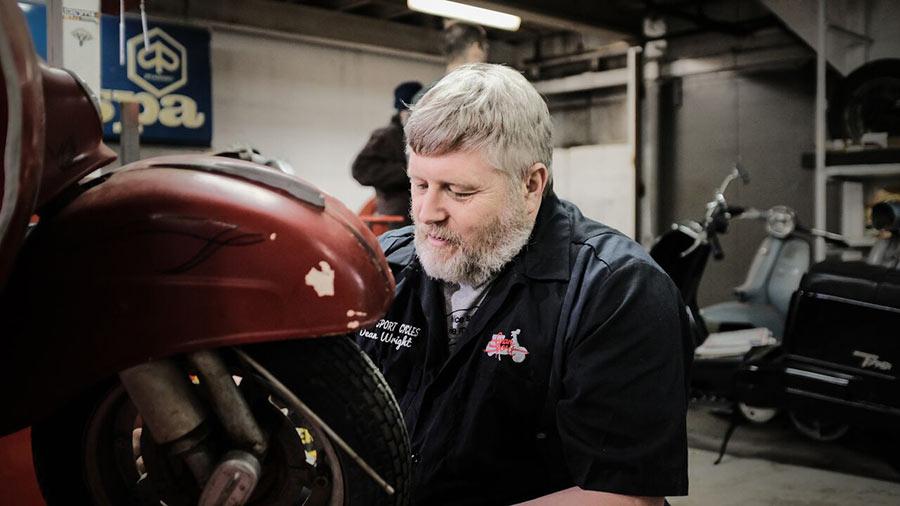 Dean working on a wheel. Photo by Quinn Kirkpatrick