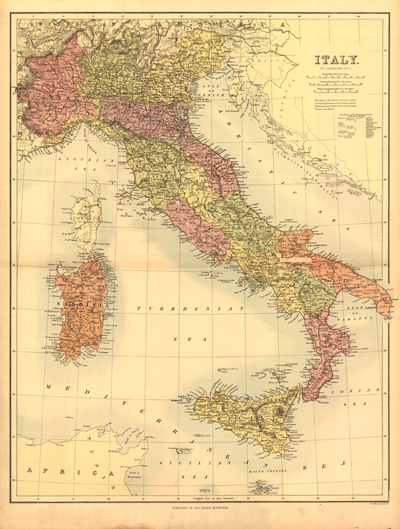 European Antique Historical Rare Maps  Royalty Free  Clip Art Italy 1890 antique vintage rare map  europe  mediteranean sea  royalty  free  clipart