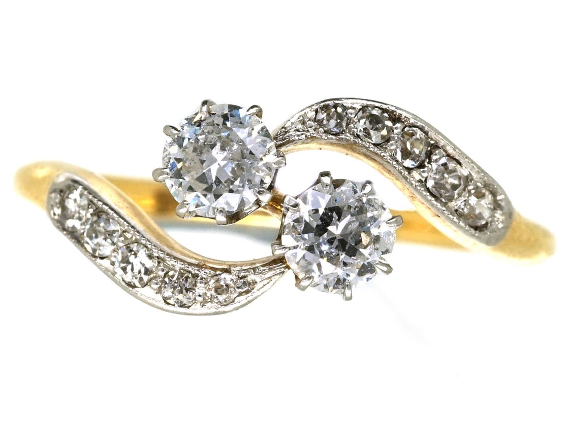 antique engagement rings vintage wedding rings Edwardian 18ct Gold Platinum Two Diamond Crossover Ring