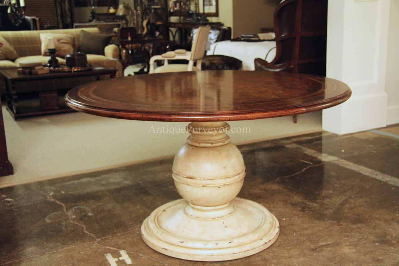 54 inch round country kitchen table with distressed painted pedestal 13442