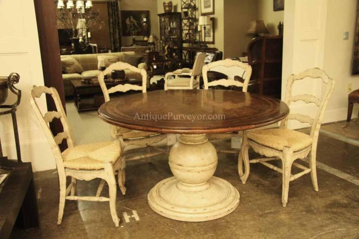64 inch round country kitchen table with distressed painted pedestal 11855