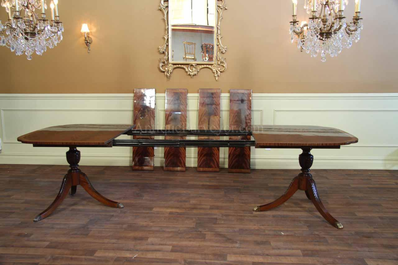 mahoganydining table long stickley p38 pedestal kitchen table Duncan Phyfe dining table with 4 extensions