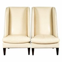 A Pair of Designer, Tall, Wingback Chairs in Cream – A beautiful piece that will add to your décor! – 30.0ʺW × 31.0ʺD × 51.0ʺH (Filippo Laveneziana)