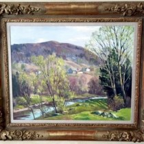 Signed Charles Gordon Harris (American, 1891- 1963) oil painting of landscape on canvas in carved gilded frame – 25″H x 31″W – Framed 35″H x 41″W (Villa Melrose)