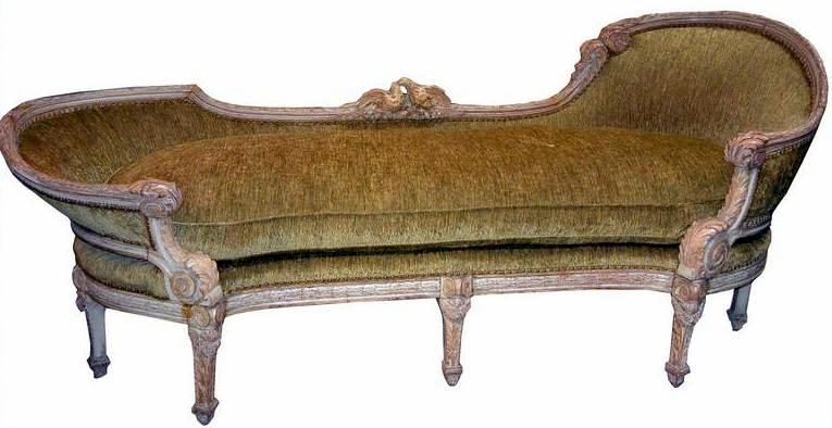 19th century french carved wood chaise lounge w love bird for 19th century chaise lounge