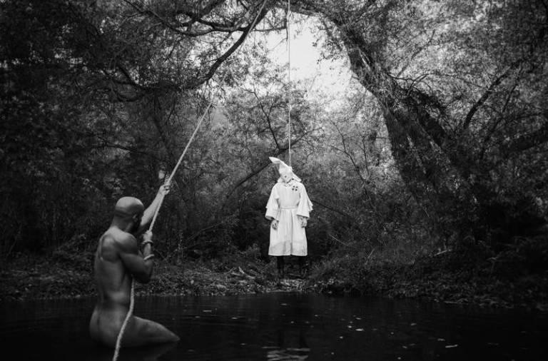 tyler shields naked black man hung hanging kkk white racism