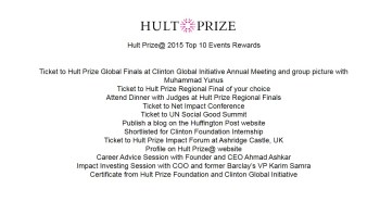 Hult Prize@ 2015 Top 10 Events Rewards