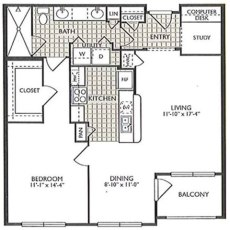 2222 Smith St Delight Floorplan 1-1 863 Sqft