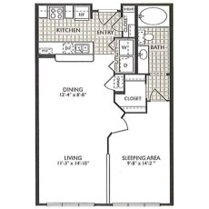 2222 Smith St Essence Floorplan 1-1 717 sqft