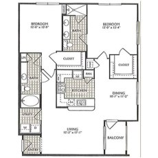 2222 Smith St Peace Floorplan 2-2 1176 sqft