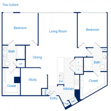 3616 Richmond The Oxford Floorplan 2-2 1429 sqft