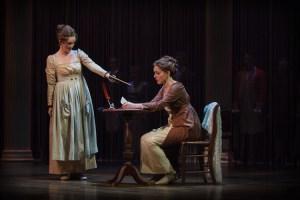 Jennifer Evans as Cassandra Austen and Lindsie VanWinkle as Jane Austen (photo credit: Ron Heerkens Jr./broadwayworld.com)