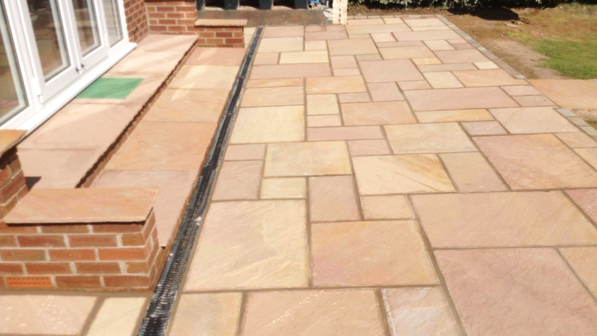 Buff Coloured Indian Stone Patio With Acore Drains + Path 2