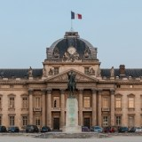 Central building of Ecole Militaire at dusk, Paris 7e