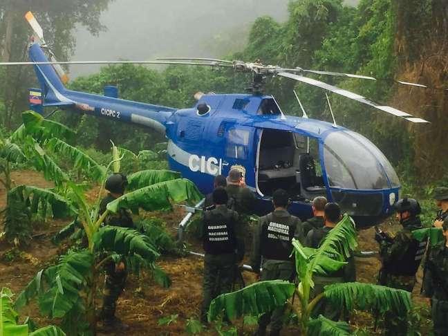 Helicóptero utilizado por Oscar Pérez, funcionario del CICPC, para atacar el TSJ y el Ministerio del Interior, Justicia y Paz.
