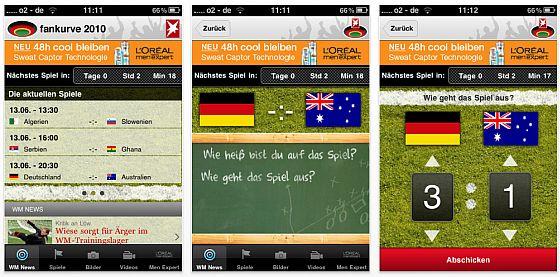 Screenshot Stern.de App WM Fankurve 2010