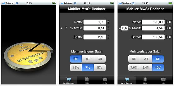 Mobiler Mehrwertsteuerrechner für iPhone, iPad und iPod Touch kostenlos