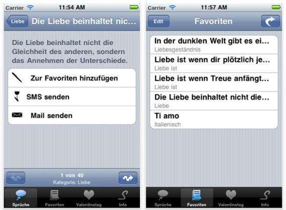 App Liebe Screenshot iPhone und iPod Touch
