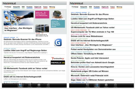 futurezone Nachrichten-App für i'phone und iPad
