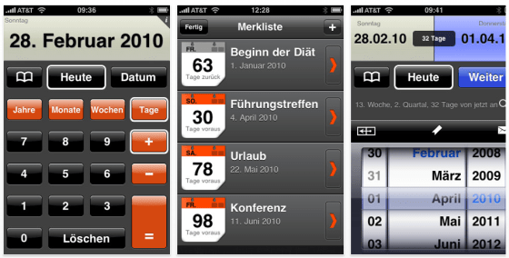 Date Plus Screenshots der iPhone-App