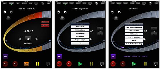 HT Recorder for iPad bietet alle Funktionen, die man für Aufnahmen und die Verwaltung der Audiodateien braucht.