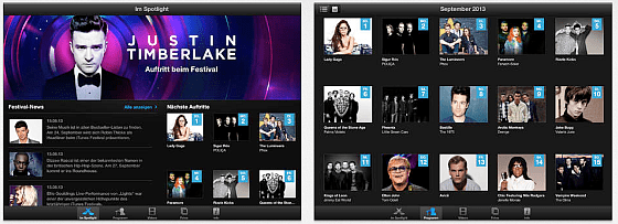 Mit der iTunes Festival 2013 App bist Du live dabei, wenn die Konzerte laufen, kannst Dir die Auftritte aber auch zeitversetzt ansehen. Die App enthält alle Gigs, Kurzbeschreibungen zu den Musikern und Links zu den Alben.