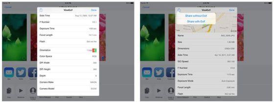 Links gibt es weitere Infos zu dem Bild - rechts kannst Du wählen, ob Du ein Bild mit Exif-Daten oder lieber ohne teilen möchtest.