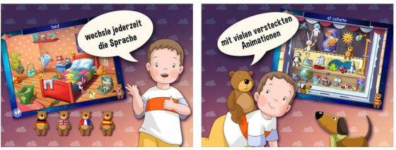 Die Sprache kann durch Antippen des Bären jederzeit gewechselt werden. Die Einführung sollte man aber doch erst einmal auf deutsch machen.