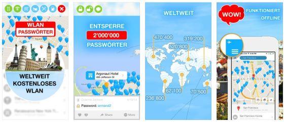 Zwei Millionen Hotspots kannst Du über die App WiFi Map Pro finden und Dich so weltweit kostenlos ins Internet einloggen.