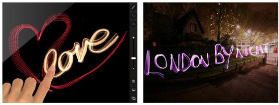 Mit der App Lume auf dem iPad malst Du mit Licht. Auf Fotos - oder auf schwarzem Hintergrund.