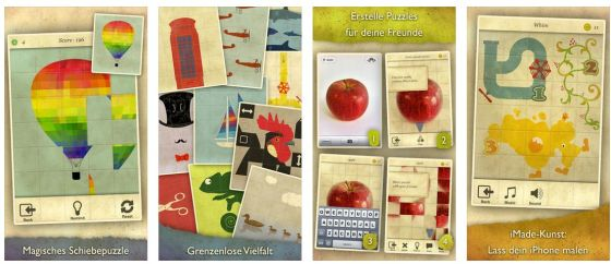 Das Knifflige bei diesem Spiel sind die unterschiedlichen Puzzle-Teile, die man - da sie in einer Reihe angeordnet sind - nur gemeinsam verschieben kann.
