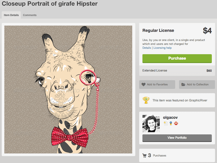 graphicriver giraffe image license