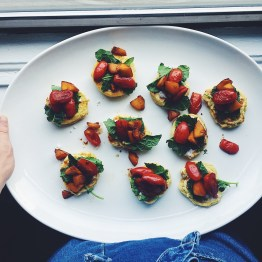 Corn Cakes with Balsamic Peach and Tomato Salad