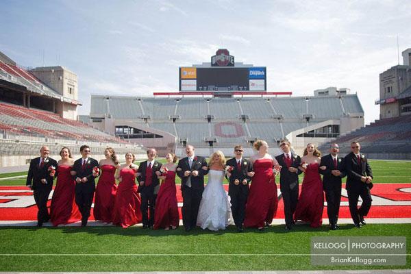 sports stadium wedding