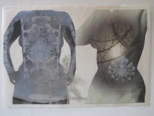 torsos on washi with silver silkscreen