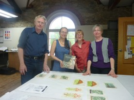 Julian, April, Meredith and Eugenie with Tuula Moilanen and Kari Laitanen's book on woodblock