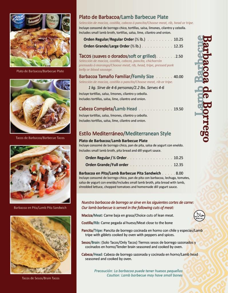 Texcoco Menu Page 1