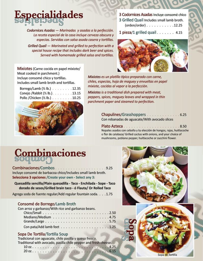 Texcoco Menu Page 2