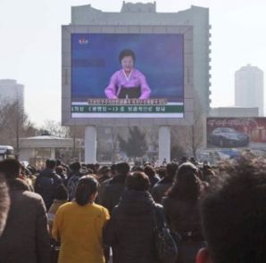 North Koreans watched the launch announcement on a big screen in Pyongyang