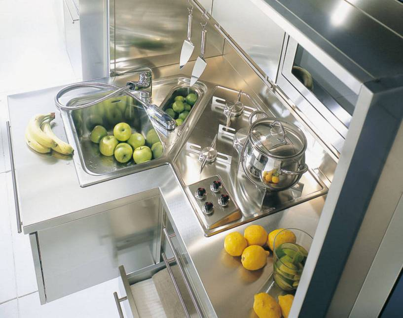 Arca Italian Kitchen - Kitchens Milf Stainless Steel - 10 2 - Wall - Cooking Dry Embossing