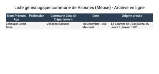 Liste généalogique Vilosnes
