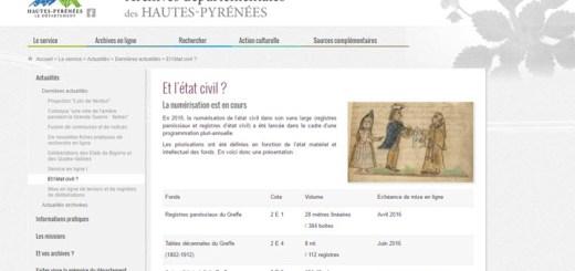 etat civil Hautes Pyrénées