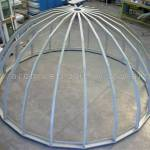 Strutture metalliche per coperture a cupola, immagini della realizzazione in corso d'opera