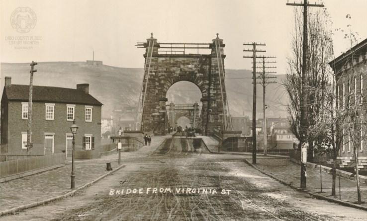 W.C. Brown Photo of the Suspension Bridge from Virginia Street on Wheeling Island