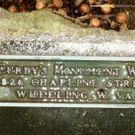 MCurdy's Monument Works plaque on the Wheeling Doughboy statue.