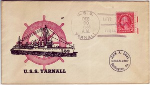 An envelope featuring the U.S.S. Yarnall. OCPL Archives.