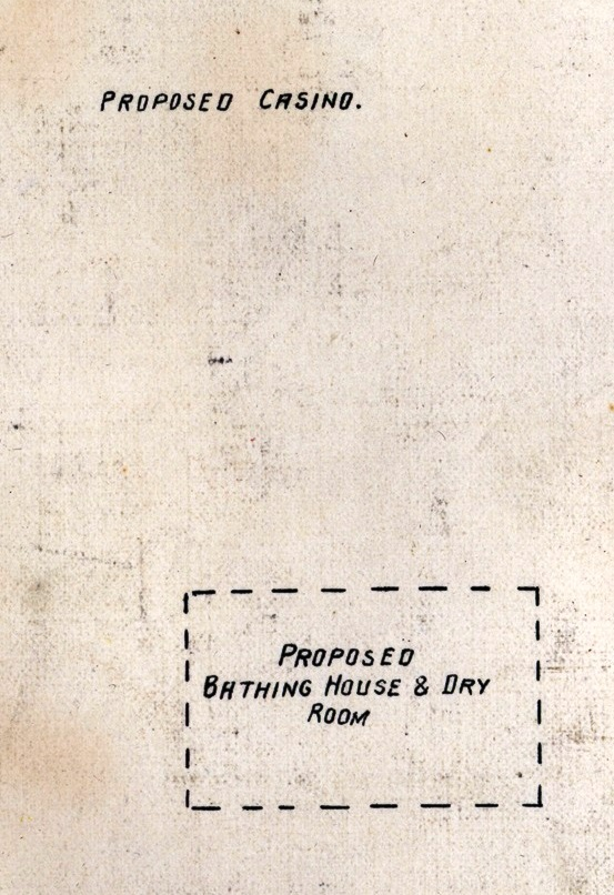 Sanborn Map closeup showing the proposed bathing house and casino.