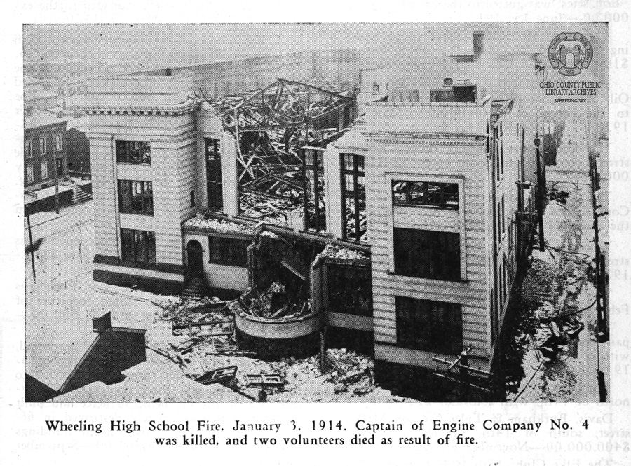 Image of the Wheeling High School fire from the 1944 Wheeling Fire Department Yearbook. -Wheeling Room, Ohio County Public Library.