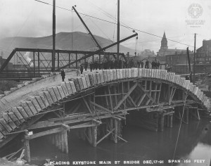 This well known photo from the library's Brown Collection shows the keystone being placed on Dec. 17, 1891.