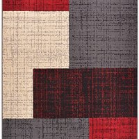 "Conur Collection Squares Geometric Abstract Area Rug Rugs Modern Contemporary Area Rug 2 Color Options (Red Grey, 4'11"" x 6'11"")"